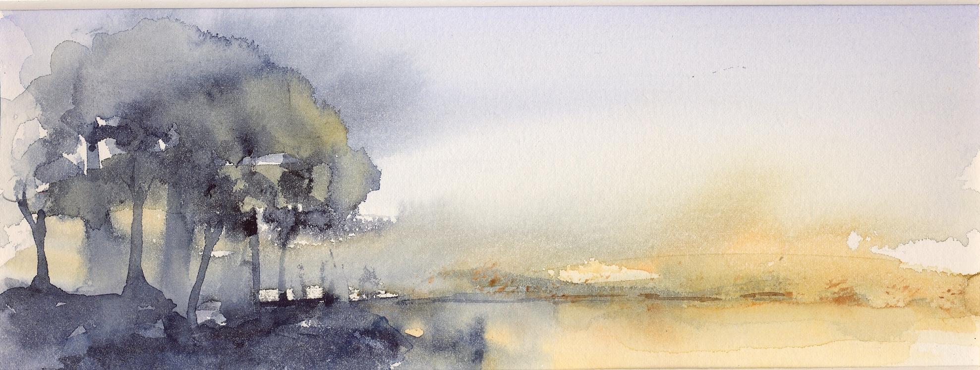 akvarel under åben himmel